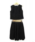 TOCCA(トッカ)の古着「フラワーエンボス刺繍N/Sブラウスセット」|ブラック