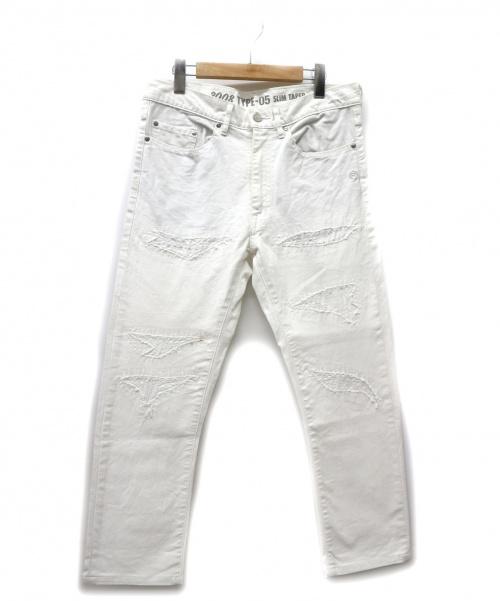 A BATHING APE(エイプ)A BATHING APE (アベイシングエイプ) リペア加工ホワイトデニムパンツ ホワイト サイズ:M シューティングスターステッチの古着・服飾アイテム