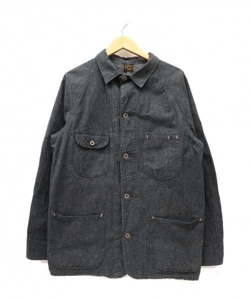 orSlow(オアスロウ)orSlow (オアスロウ) ブラックシャンブレーカバーオールジャケット ブラック サイズ:3 ゴマ塩・黒シャンの古着・服飾アイテム