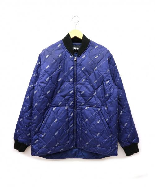 stussy(ステューシー)stussy (ステューシー) 総柄フィッシュテールキルティングジャケット ネイビー サイズ:Sの古着・服飾アイテム