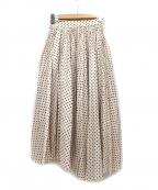 COEL(コエル)の古着「シャンタンドットフロントプリーツスカート」 ベージュ