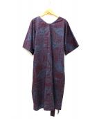 marimekko(マリメッコ)の古着「コットンプリントウエストリボンワンピース」|ネイビー