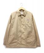 DANTON(ダントン)の古着「ナイロンタフタレギュラーカラーカバーオールジャケット」|ベージュ