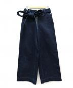 AKANE UTSUNOMIYA(アカネウツノミヤ)の古着「ベルト付デニムワイドパンツ」 インディゴ