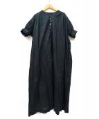 ()の古着「コットンボイルギャザーワンピース」|ブラック
