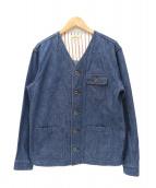 JAPAN BLUE(ジャパンブルー)の古着「ノーカラーデニムカバーオール / ワークジャケット」|インディゴ