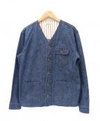 JAPAN BLUE(ジャパンブルー)の古着「ノーカラーデニムカバーオール / ワークジャケット」 インディゴ