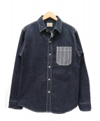 ()の古着「ヒッコリーポケットデニムシャツ」|インディゴ