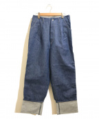 WESTOVERALLS(ウエストオーバーオールズ)の古着「2タックワイドデニムトラウザーパンツ」 インディゴ