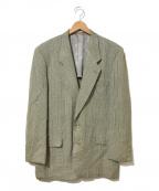 Christian Dior MONSIEUR(クリスチャンディオールムッシュ)の古着「[OLD]リネン混チェックテーラードジャケット」|オリーブ