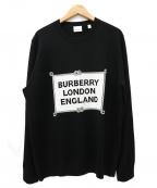 BURBERRY()の古着「クルーネックロゴニット / セーター」|ブラック