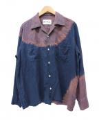 NOMA t.d.(ノーマティーディー)の古着「タイダイ染めオープンカラーシャツ」 ネイビー