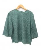 mina perhonen(ミナペルホネン)の古着「刺繍ブラウス」|グリーン