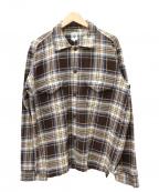South2 West8()の古着「チェックフランネルスモーキーシャツ」|ブラウン