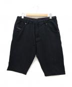 DIESEL()の古着「スウェットジョグジーンズハーフパンツ」|ブラック