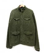 POLO RALPH LAUREN()の古着「ユーズド加工キルティングミリタリージャケット」|カーキ