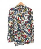 LOVE MOSCHINO(ラブモスキーノ)の古着「海賊グラフィックレーヨンシャツ」 アイボリー
