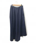 COMME des GARCONS()の古着「[OLD]アシンメトリーウールギャバマキシスカート」|ネイビー
