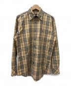 BURBERRY BLACK LABEL(バーバリーブラックレーベル)の古着「ノヴァチェックBDシャツ」 ベージュ
