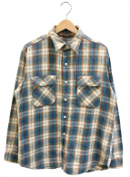 ()の古着「[古着]70'sヘビーチェックネルシャツ」 ベージュ