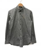 maison kitsune(メゾンキツネ)の古着「キツネアイコンチェックシャツ」|グレー