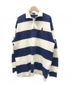 POLO RALPH LAUREN(ポロ・ラルフローレン)の古着「[古着]ポロベアーラガーシャツ」|ホワイト×ネイビー