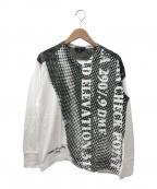 COMME des GARCONS HOMME(コムデギャルソン オム)の古着「切替VネックプリントTシャツ」|ホワイト