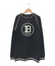 BALMAIN (バルマン) フロッキープリントラグランスウェット ブラック サイズ:16A(キッズ企画)