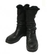 SARTORE(サルトル)の古着「ファー付レザーブーツ」|ブラック
