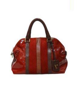 FURLA(フルラ)の古着「パテントレザーハンドバッグ」 レッド