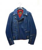 666(トリプルシックス)の古着「ライダースジャケット」|ブルー