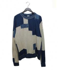 kolor/BEACON(カラービーコン)の古着「インディゴパッチワークスウェット」|インディゴ