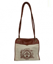 BOTTEGA VENETA(ボッテガベネタ)の古着「キャンバスレザーショルダーバッグ」|ベージュ×ブラウン