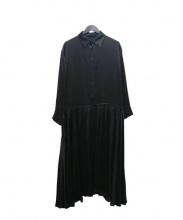 yohji yamamoto+noir(ヨウジヤマモト プリュスノアール)の古着「ウエストギャザーシルクシャツワンピース」|ブラック