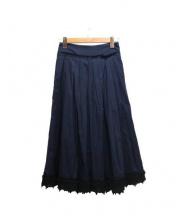 DEREK LAM 10 CROSBY(デレクラムテンクロスビー)の古着「レーストリムフレアスカート」|ネイビー