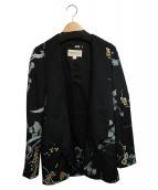 DENIM & SUPPLY RALPH LAUREN(デニム&サプライ ラルフローレン)の古着「フラワープリントジャケット」|ブラック×ホワイト