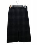 sawa takai(サワタカイ)の古着「ウールチェックスカート」|グレー×ネイビー