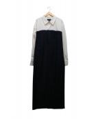 ERIKA CAVALLINI semi-couture(エリカ カヴァリーニセミクチュール)の古着「ドッキングロングワンピース」|ホワイト×ネイビー