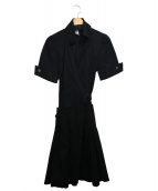 DIANE VON FURSTENBERG(ダイアンフォンファステンバーグ)の古着「半袖シャツワンピース」|ブラック