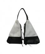 CHRISTIAN VILLA(クリスチャンヴィラ)の古着「レザーコンビメッシュデザインバッグ」|ホワイト×ブラック