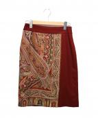 ETRO(エトロ)の古着「オールドペイズリースカート」|レッド