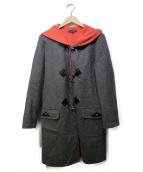 DUAL VIEW(デュアルビュ)の古着「ウールアンゴラダッフルコート」|グレー×ピンク