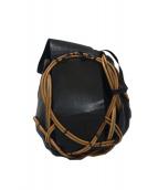 ebagos(エバゴス)の古着「レザー切替籐カゴバッグ」 ブラック×ベージュ