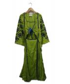 SLEEPING GYPSY(スリーピングジプシー)の古着「刺繍ドレスワンピース」|グリーン