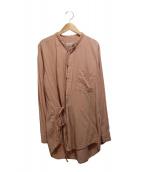 BED J.W FORD(ベッドフォード)の古着「バンドカラーシャツ」|ピンク