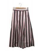 BLUE LABEL CRESTBRIDGE(ブルーレーベルクレストブリッジ)の古着「マルチストライプスカート」|ブラウン×ホワイト