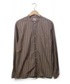 STEVEN ALAN(スティーブンアラン)の古着「バンドカラーストライプシャツ」|ブラウン×グリーン