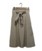 martinique(マルティニーク)の古着「リボンベルテッドフレアスカート」|ベージュ