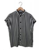G.V.G.V.(ジーブイジーブイ)の古着「サテントリムストライプブラウス」|ホワイト×ブラック
