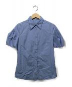 MIU MIU(ミュウミュウ)の古着「ギャザースリーブシャツ」|スカイブルー
